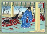 A member of the Thirty-six Medieval Poetry Immortals, Izumi Shikibu served at the court of Empress Shoshi (988–1074).<br/><br/>  She is best known for the Izumi Shikibu Collection (和泉式部集 Izumi Shikibu-shū) and the Imperial anthologies. Her life of love and passion earned her the nickname of 'The Floating Lady' from Michinaga. Her poetry is characterized by passion and sentimental appeal. Her style was the direct opposite of that of Akazome Emon, even though both served in the same court and were close friends.<br/><br/>  At the court she also nursed a growing rivalry with Murasaki Shikibu, who had a similar poetic style, though this rivalry pales in comparison with Murasaki Shikibu's spirited competition with Sei Shōnagon. Izumi Shikibu's emotional poetry won her the praise of many at the court, including Fujiwara no Kinto.